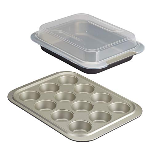 Anolon Allure Nonstick Bakeware Set contains Nonstick Baking Pan with Lid and Muffin/Cupcake Pan – 3 Piece, Onyx/Black/Pewter