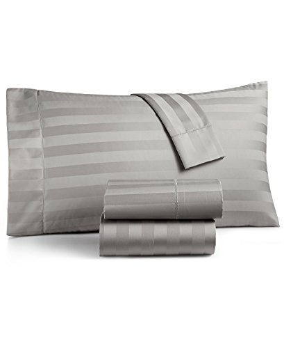 Charter Club Damask Stripe King 4-Pc Sheet Set, 550 Thread Count Pure Supima Cotton (Smoke)