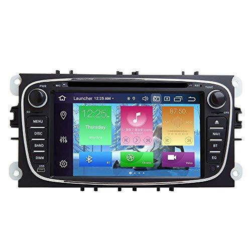 Autoradio Android Stereo, per Ford Focus 2 S-Max C-Max Mondeo 4 Galaxy Kuga 2008-2010 Android 9.0 Octa Core 4G RAM 64G ROM 7 pollici Schermo capacitivo HD multi-touch GPS stereo automatico (nero)