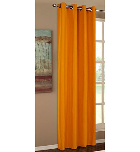 Vorhang Blickdicht Schal, Matte unifarbene Gardine mit Ösen. Material aus Microsatin Micofaser-Gewebe. 245x140, Orange, 20405