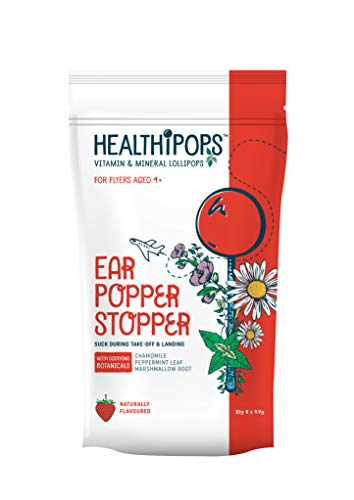 Healthipops Vitamin & Mineral Lollipops Ear Popper Stopper with Added Soothing botanicals; Chamomile, Peppermint Leaf & Marshmallow Root | Aged 4+ | 8 Lollipops