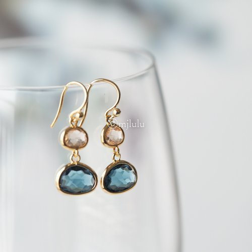 Simulated Blue Sapphire and Simulated Lt Topaz Drop Earrings
