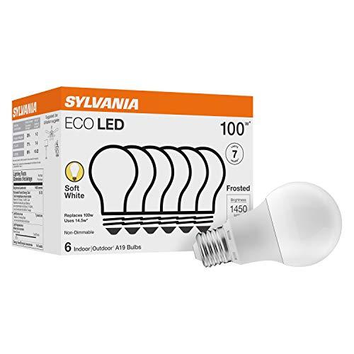 Sylvania LED A19 100W Equivalent, Efficient 14.5W, Soft White Color Temperature 2700K, 6 Pack