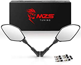 MZS Motorcycle Mirrors Rear View Side 8MM 10MM Black Universal Compatible with Street Dirt Bike Quad Adventure Scooter Coolster Moped GY6 Cruiser ATV