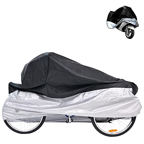 """H&ZT Adult Tricycle Cover Bike Cover, Outdoor Bicycle Motocycle Storage Cover, Heavy Duty Ripstop Material, Waterproof & Anti-UV (75"""" L x 30"""" W x 44"""" H) (Black & Silver, 75"""" L x 30"""" W x 44"""" H)"""