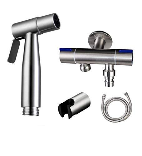 Duale Modi Shattaf Handheld bidet wc-sprayer doucheset met slanghouder voor persoonlijke hygiëne en potjes in bed, WC-spray regelaar waterdruk instelbaar metaal Metaal
