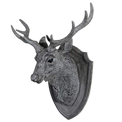 LIUBINGER Escultura Cabeza de Ciervo Colgante de Pared Retro Simulación Sala de Estar Resina Gris Escultura Grande Estéreo 3D 36 * 20 * 45 cm Manualidades