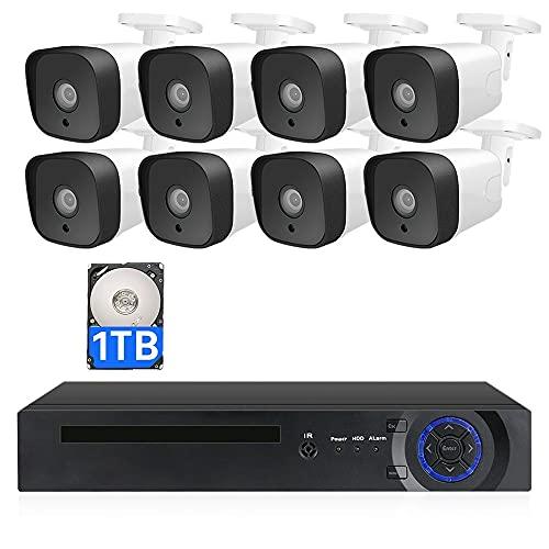 MWEIMA 8 Canal 8 Sistema De Seguridad De La Cámara,Vigilancia por Cable 2MP DVR,Detección De Movimiento,Visión Nocturna,Alerta por Correo Electrónico,Acceso Remoto (Size : Standard Kit+1TB HDD)