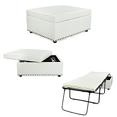 iBED Convertible Ottoman Guest Bed in White DISCONTINUED