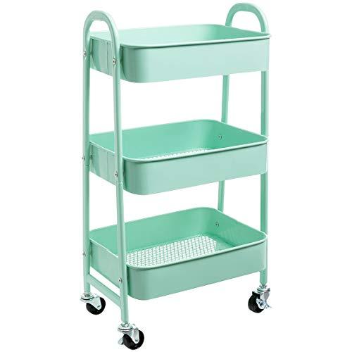 AGTEK Makeup Cart, Movable Rolling Organizer Cart, Macaron Blue 3 Tier Metal Utility Cart