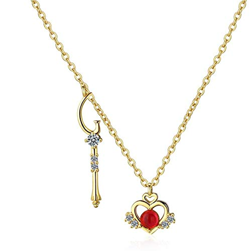Yikoly Women's / Girls' Necklace Silver 925 Glitter Zirconia Golden Heart Castle Red Opal Fashion Y Chain with Pendant Charm Happy Necklace Adjustable