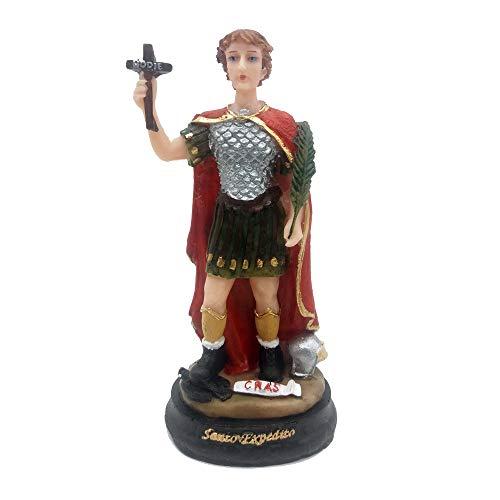 Escultura Santo Expedito Imagem em Resina 15 cm Estatua pintada à mão
