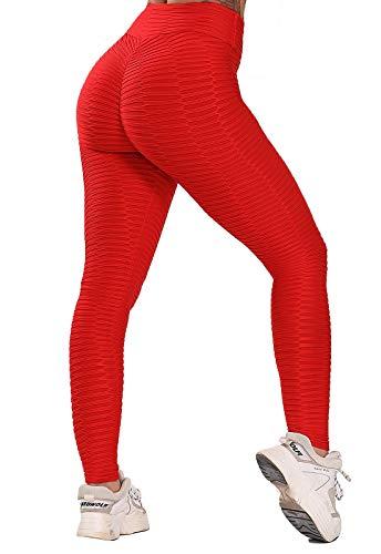 FITTOO Leggings Push Up Mujer Mallas Pantalones Deportivos Alta Cintura Elásticos Yoga Fitness #2 Rojo Mediana