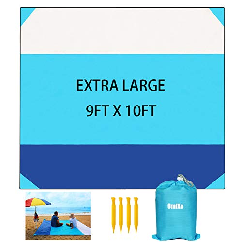 OMIXE Waterproof Sand Free Beach Blanket, Extra Large 10'X9' Outdoor Camping Mat, Lightweight Durable Portable Picnic Blanket with 4 Stakes & 4 Corner Pockets for Party, Travel, Camping and Outdoor