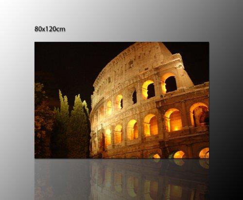 Het colloseum in ROM - amhitheater - muurschildering (colosseo roma 120 x 80 cm) ROM bezienswaardigheden - op echt canvas ingelijst - Italiaanse muur decoratie boven uw dressoir - afbeeldingen volledig ingelijst met spieraam enorm. Uitvoering kunstdruk op canvas. Voordelig incl. frame.