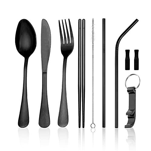 Moyad - Set di posate da viaggio portatile con custodia, riutilizzabile, in acciaio INOX, per 1 coltello, forchetta, cucchiaio, bacchette Set da tavola Cruz V2 Fresh Foam
