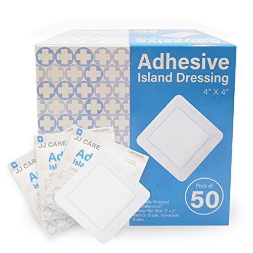 "JJ CARE [Pack of 50] Adhesive Island Dressing 4"" x 4"", Sterile & Breathable Bordered Adhesive Gauze Bandages Pads, Ultra Absorbent Wound Dressing, Latex Free, Individually Wrapped Gauze Dressing"