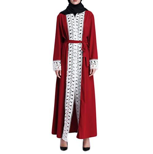 FRAUIT Damen Lange Mantel Moslemischer Frauen-islamischer Kleidungs-Druck, der Lange Mantel-Mittlere Osten-Lange Robe spleißt
