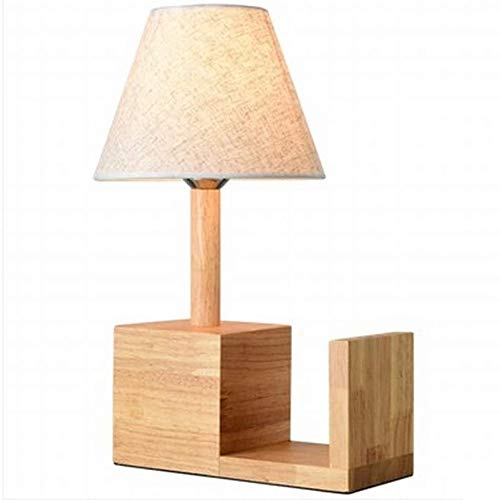 Liangsujiantd Flexo Led Escritorio, Pantalla de la tela del partido, simple de madera maciza de lámpara de mesa, lámpara de escritorio creativa nórdica estantería, lámpara de mesa for el dormitorio sa