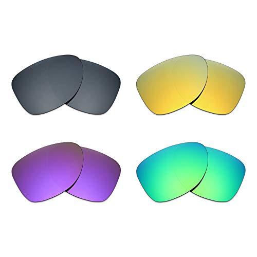 MRY 4Paar Polarisierte Ersatz Gläser für Oakley Dispatch 2sunglasses-black Iridium/24K Gold/Plasma violett/Smaragd Grün