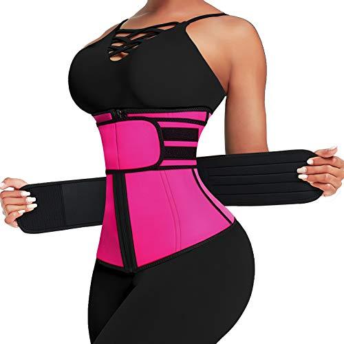 Wonder-Beauty Women's Neoprene Waist Trainer Trimmer Long Torso Underbust Waist Cincher for Weight Loss Workout Body Shaper Rose Red 4XL