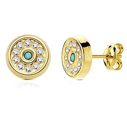 Pendientes Oro 18K Circular Turquesa Y Circonitas 8mm. [Ab3012]