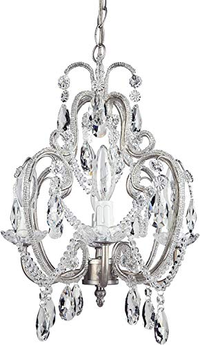 """Tiffany Collection' Authentic Crystal Beaded Mini Swag Chandelier Lighting with 4 Lights, W12"""" X H15(Silver)"""
