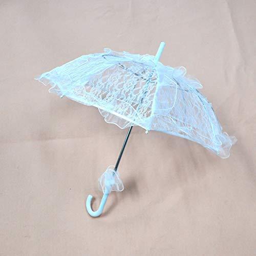 Damen-Regenschirm im westlichen Stil, hohl, florales Design, Spitze, Hochzeit, Braut, manuelles Öffnen, Fleur-Sonnenschirm, Rüschenbesatz, romantische Foto-Requisiten, weiße Spitzen-Schirme für Frauen
