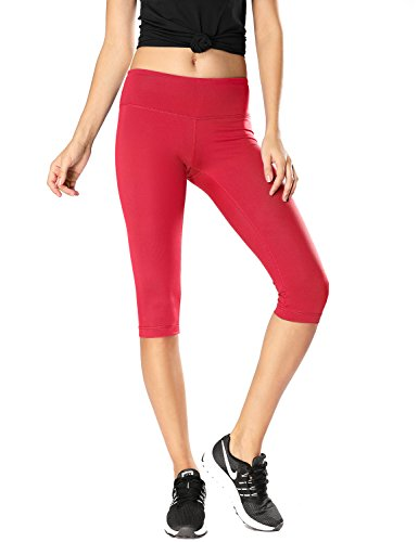 CRZ YOGA Women's Running Tights Workout Capris Cropped Yoga Pants with Pockets Red 25'' - R009 Small