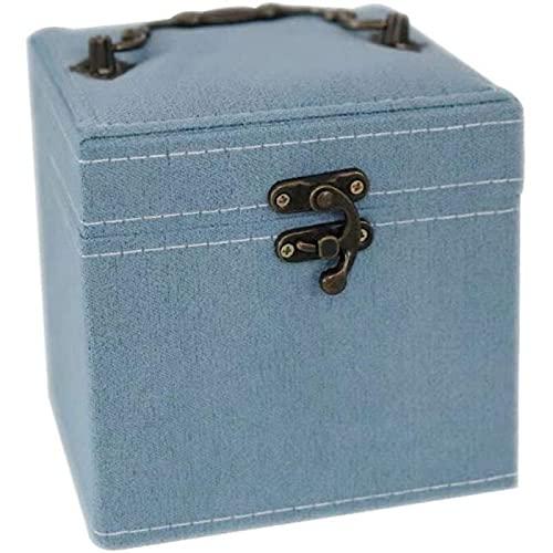 SONG Joyero de Tela de Franela Cajas de Almacenamiento DIY Estuche de Regalo con Forma Geométrica para Collar Pulsera Anillos Pendientes Joyero,Blue