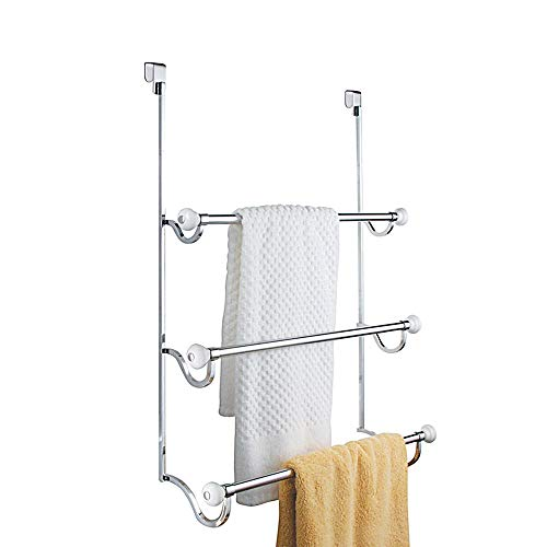 "iDesign York Metal Over the Shower Door Towel Rack, Hooks for Master, Guest, Kids' Bathroom, 4.75"" x 17.75"" x 22.5"", Chrome"