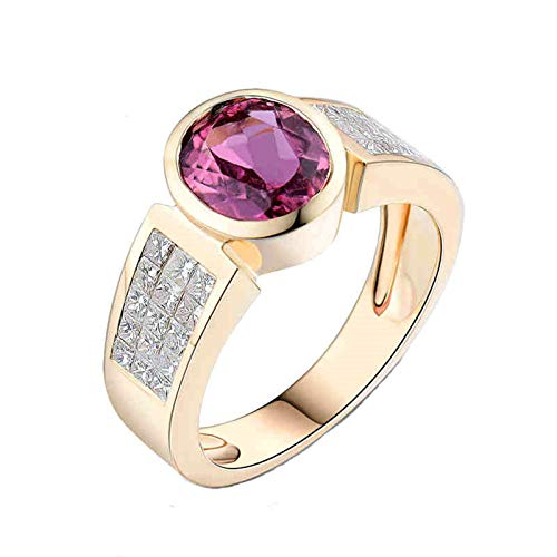 Daesar Anillo de Oro Amarillo 18K Mujer,Oval Turmalina Rosa 1.6ct Diamante 1.08ct,Oro y Rosa Roja Talla 15