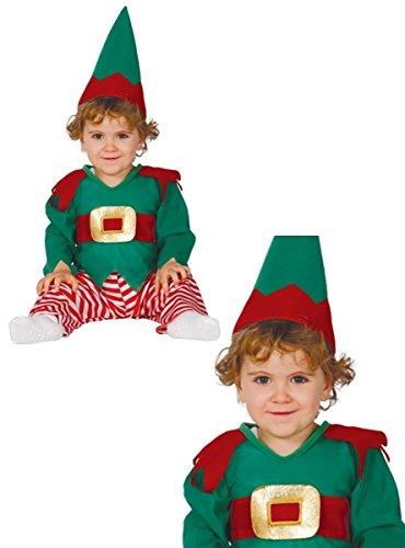 Guirca grafoplas SL.–Traje Elfo ambientes con Forma de Nano Niño 12/24Meses, Color Verde y Rojo, GU _...