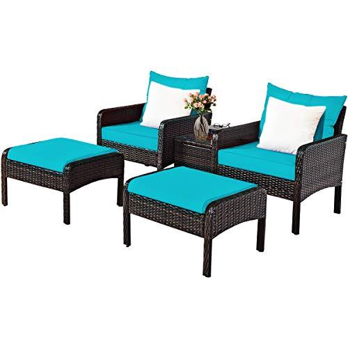 Tangkula Outdoor Wicker Rattan 5 Pieces Furniture Set