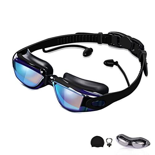 AONYIYI Gafas Natación Hombre Hembra Antivaho Impermeable Protección UV Polarizadas Gafas de Natación con Tapones para los Oídos Gorro de Natación Clip de Nariz