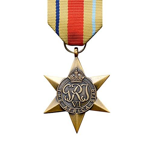 JXS Recuerdo de la Medalla de Honor británica de la Segunda Guerra Mundial, réplica de la Insignia de la Estrella de África, Insignia grabada 1: 1 de Material de aleación