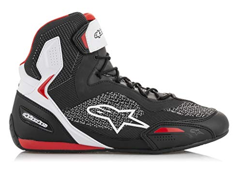 Botas de Moto Alpinestars Faster-3 Rideknit Shoes Black White Red, Negro, Blanco y Rojo, 41