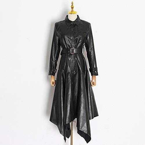 Dames leren jas Mode revers lamsleer met enkele rij knopen PU over de knie trenchcoat met tailleband,S
