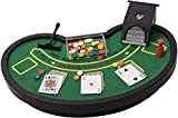 Perfect Life Ideas Desktop Miniature Blackjack Table Set with Mini Card Deck Poker Chips Accessories -...
