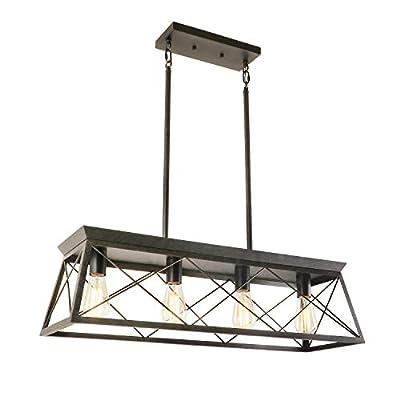 Eumyviv 4-Light Metal Farmhouse Pendant Lighting Fixture, Rustic Industrial Linear Chandelier for Kitchen Island C0094