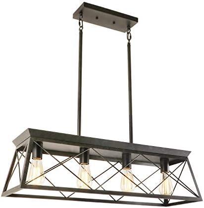 Eumyviv 4 Light Metal Farmhouse Pendant Lighting Fixture Rustic Industrial Linear Chandelier product image