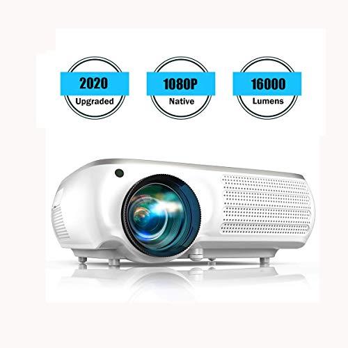Ai LIFE Beamer 16000 Lumen Native 1080P-Videoprojektoren Unterstützung 4K, 4D Digitale Trapezkorrektur für Heimkino, kompatibel mit Smartphone, PC, TV-Box, PS4