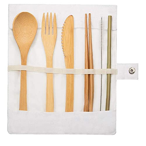 Tuimiyisou Bamboo Cutlery Set Reusable Flatware Set Portable Camping Travel Tableware for Travel Eating out White 7PCS