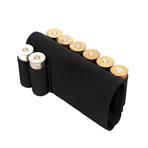 Bolsas de escopeta táctica de caza de rifle, culata de caza, negro, calibre 12, culata de caza táctica, cartucho de escopeta, soporte de carcasa, culatas de rifle Airsoft (8 cartuchos de culata)