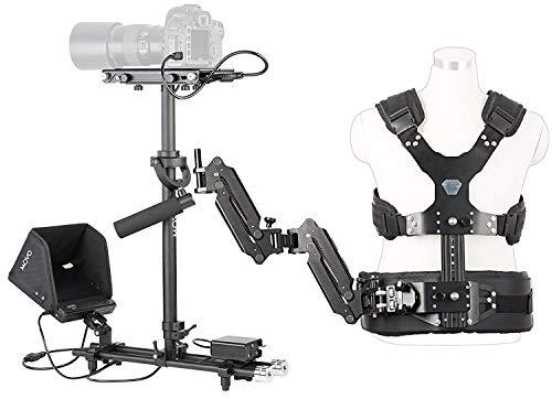 Movo X100 Ultimate Steadycam Système - contenant un stabilisateur vidéo portable, un gilet avec bras à double articulation, un écran LCD de champ et un étui de transport de luxe