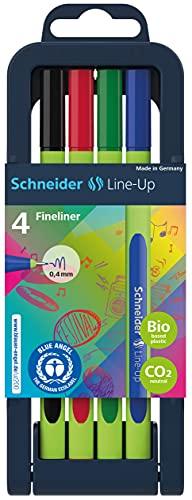 Schneider Line-Up Fineliner (Dreikantfineliner in Strichstärke 0,4mm, Gehäuse aus biobasiertem Kunststoff, Made in Germany) 4 Stück sortiert