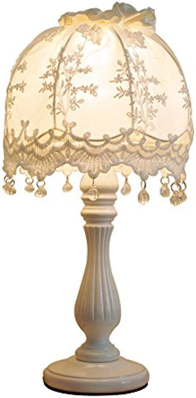 WOF Europische warmes Licht Tischlampe koreanische Mdchen Prinzessin Stil Spitze Tischlampe Schlafzimmer Nachttischlampe Studie Studie Lampe Dekoration Lampe (Farbe   Button Switch)