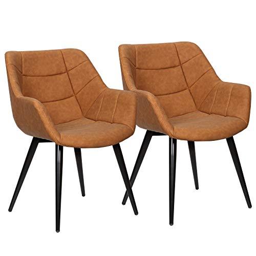 WOLTU Esszimmerstühle BH147br-2 2er Set Küchenstühle Wohnzimmerstuhl Polsterstuhl Design Stuhl mit Armlehne Kunstleder Gestell aus Stahl Antiklederoptik Braun