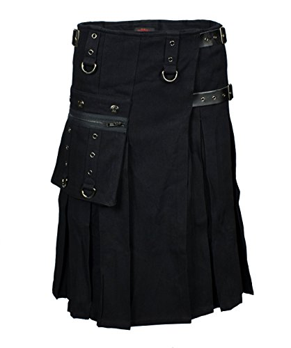 LUCYFIRE fashion Worker Kilt Schwarz - 3XL