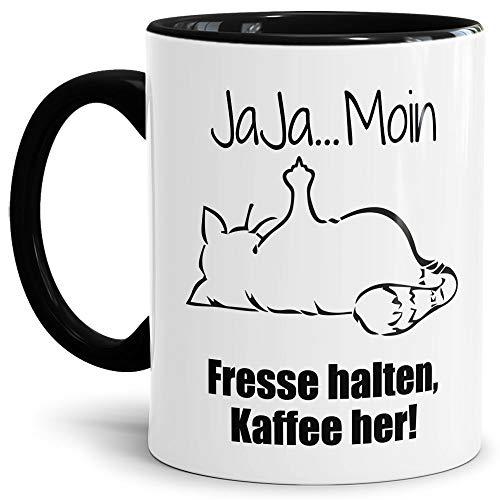 Tasse mit Spruch - Nö-Katze Ja Ja Moin - lustige Tasse für die Arbeit/Bürotasse/freche Tasse mit Katze/Geschenkidee lustig - Innen & Henkel Schwarz